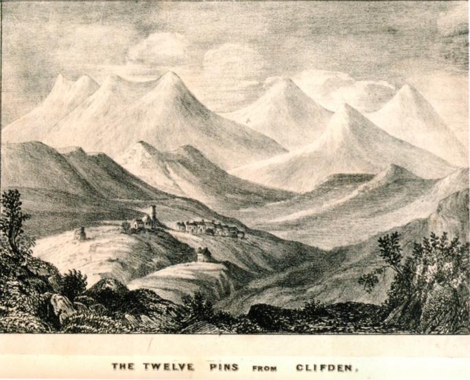 A view of the Twelve Bens, Members of Tralee Mountaineering Club (TMC) in Connemara