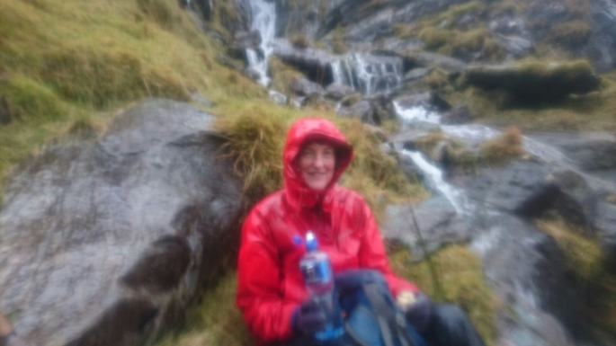 AWASH in the Devils Ladder. Nuala Finn, Tralee Mountaineering (TMC) President taking a break in the waterfall that was the Devils Ladder last Sunday, April 15 2018.