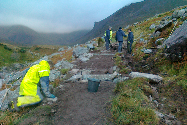 Tralee Mountaineering Club TMC photo showing maintenance work being carried out on a path in the Hags Glen,